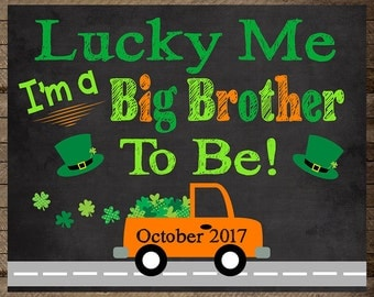 St. Patrick's Day Pregnancy Announcement, Big Brother, Baby number two, Big brother announcement, st patrick's big brother, leprechaun, sign