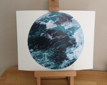 Cold Waves Watercolour Print