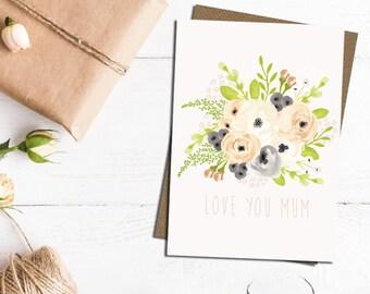 Mum card, card for mum, happy birthday mum, with love mum