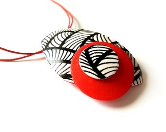 Red pendant necklace, Black white red necklace, Modern necklace for her, Abstract necklace, Gifts under 25, Black and white necklace