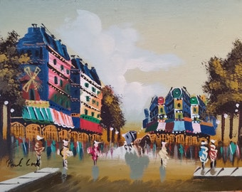 """Colorful European Street Scene - Abstract Oil Painting 