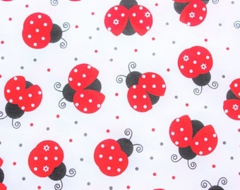 Timeless Treasures, Ladybug Fabric, Ladybird, Cotton Fabric, White, Red,  Quilting, Sewing, Dressmaking, Supplies, Half Metre