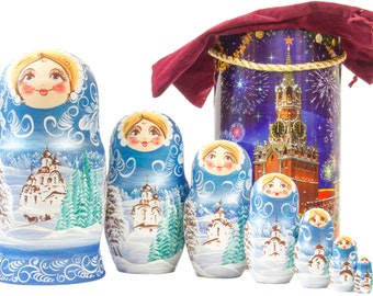 "Russian Nesting Doll - BIG SIZE - 7 dolls in 1 -  ""Winters Tale"" design - Blue Color - Hand Painted in Russia"
