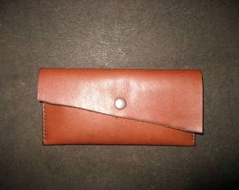 Handstitched leather pencil case, pen holder, tan or dark tan, pen pouch; vegetable-tanned leather, gift for Mum; small accessories