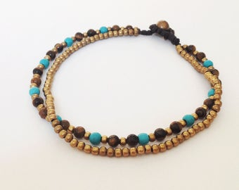 Tiger eye and Turquoise anklets 4 mm bead anklet Woman anklets Simple anklets