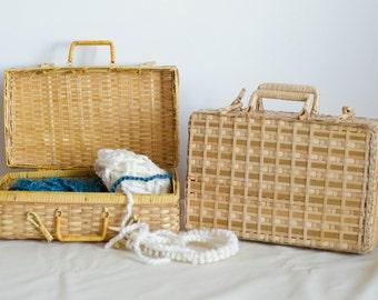 Rattan / Wicker boxes with handles / Handbag