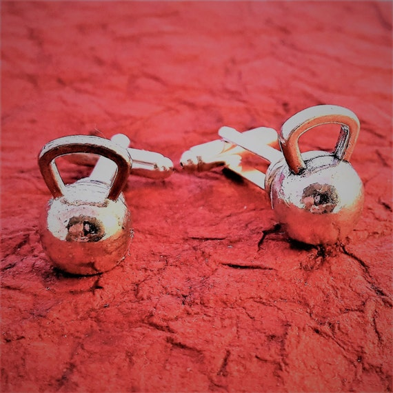 Kettlebell Cufflinks, Fitness Cufflinks, Fitness Gifts for Men, CrossFit Gifts, Weightlifter Bodybuilder Cuff Links, Sports Charms Gifts