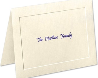 Family Personalized Stationery, Embossed Panel Linen Finish Personalized Note Cards, Christmas Gift, Thank You Cards, Notecards, Stationary