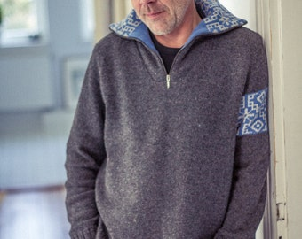 SALE! % !  Sweater, half-Zip Sweater - UNISEX