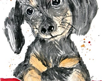 PRINT (5x7)  of the original watercolor painting- dachshund puppy, puppy painting, watercolor puppy, watercolor dachshund