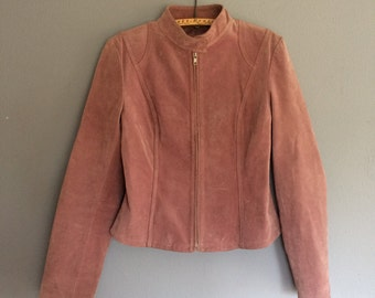 vintage, pink suede coat, retro, sized medium, form fitting jacket