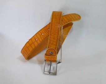 End of line-vintage real leather men's Belt. Vintage Croco pattern. Various colors. Handmade artisan product.