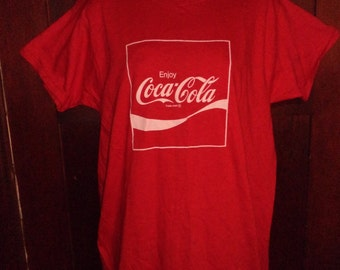 1970 SQUARE COKE Coca Cola Red Shirt Xl Made In the USA