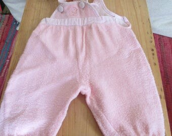 Vintage Baby Clothes Dungarees Pink Duck 6 Months
