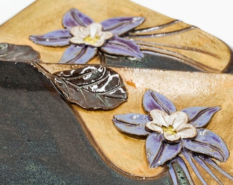 Columbine Flower Rectangle Plate | Pottery | Ceramic | Stoneware | Pottery Plate | Ceramic Plate | Stoneware Plate | Handmade Pottery