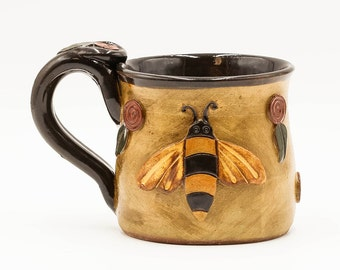Bee Mug | Bumble Bee Mug | Honey Bee Mug | Pottery | Ceramic | Stoneware | Pottery Mug | Ceramic Mug | Stoneware Mug | Handmade Pottery