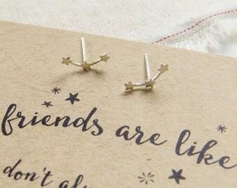 Friendship Star Earrings - Sterling Silver Star Earrings - Gift for Friend - Friendship Jewellery - Star Stud Earrings - Gift for Her