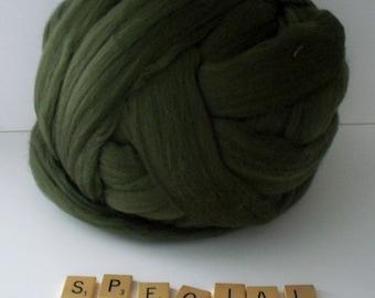 Special Green Merino Wool Top, Roving, Wet Felting, Nuno Felting, Needle Felting, Arm Knitting, Spinning, 21.5 microns