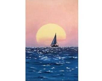 "Oil Painting, Sea. seascape, ""Yacht under the sun"". 60х40 cm. Free shipping!"