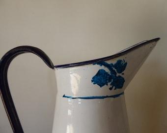 Vintage French Enamel Pitcher, Blue Stencilled Jug, Home Decor, Farmhouse Theme, Kitchenalia 0317052-187