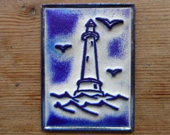 French Rubber Stamp on Metal Back, Ink Stamps, Lighthouse Design