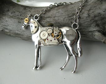 Horse necklace Horse jewelry Horse pendant Steampunk jewelry Silver horse Mechanical animal Watch parts Clockwork neclace Long necklace