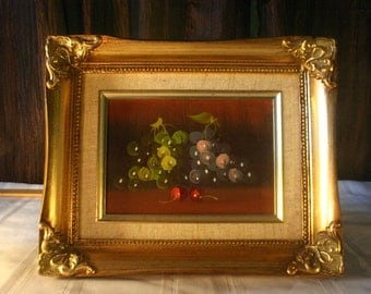 Grapes and Cherries Framed Oil Painting - Free Shipping