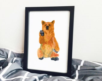 Yellow Bear, Bear Series, Bear Watercolor Poster Art
