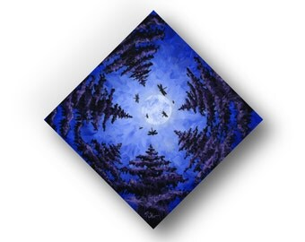 8 in. x 8 in. Original Acrylic Painting on Wood Panel, Contemporary Art, Moonscape, Evergreen Trees, Dragonflies