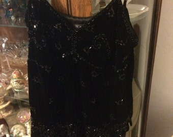 Black Velvet Sequined Cami Top Size Small