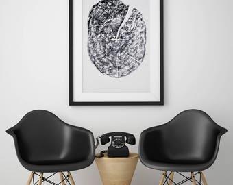 Beech Wood | Tree Ring Print | WoodBlock Print | Tree Stump Print