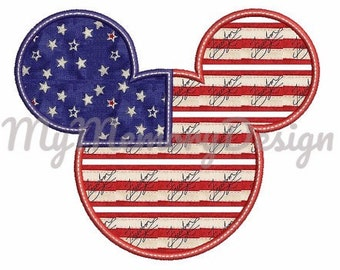Independence day embroidery design - Mr mouse applique - 4th of july embroidery pattern - Machine embroidery pattern - 4x4 5x7 6x10