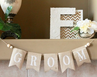 Groom Burlap Banner. Rustic Groom Burlap Banner. Rustic Wedding Sign. Rustic Wedding Decor. Boho Wedding Decor. Boho Groom Banner