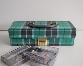 vintage cassette tapes storage. space for 14 cassette tapes. blue retro tapes case. cassette storage case. cassette tape holder. tapes box