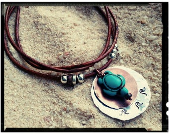 Turquoise Turtle Choker - Hand Stamped Waves//Aluminum & Copper Disc Charms//Turtle Bead//Distressed Leather - Adjustable Necklace - Unisex