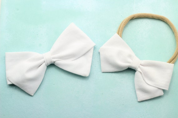 White Bow, toddler, baby girl, fabric bow, nylon headband or clip