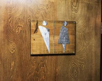 Designer Abstract Restroom Sign Wood + Metal Art