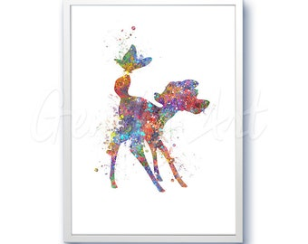Disney Bambi Watercolor Poster Print - Watercolor Painting - Watercolor Art - Kids Decor- Nursery Decor