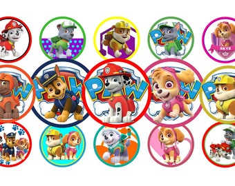 Paw Patrol Bottle Cap Images 1 INCH Round Images Paw Patrol 1 inch Paw Patrol image Printable Paw Patrol round images Paw Patrol 1 inch