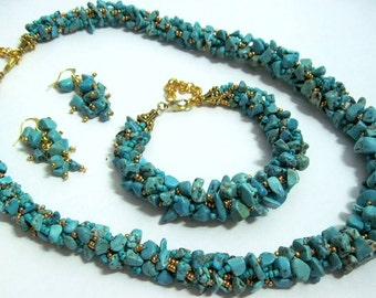 Turquoise jewelry set  Blue jewelry Turquoise jewelry Stone jewelry  Turquoise necklace