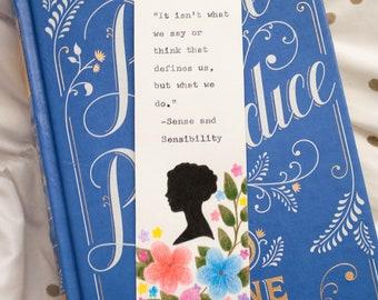 Jane Austen Bookmark - Sense and Sensibility - Typewriter - Silhouette - Literary Quote