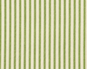 Apple Green Ticking Stripe Cotton Fabric By-the-Yard