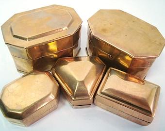 Vintage box pill, Set of 5, Brass box pill, Small metal box, old brass box, Brass storage box, Desk Accessory, Metal cans pill