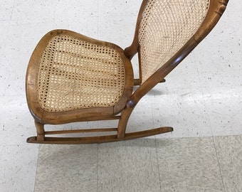 OBO Vintage Antique Rocking Chair Rattan Caned Wood Stunning Gorgeous