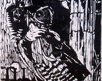 """Ben Brooks original woodblock print """"Athena Returns"""""""