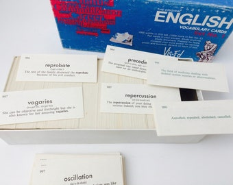Vintage 80s Vis-Ed English Vocabulary Cards/Vintage Vocabulary Cards/Paper Craft Supply/Scrapbooking Supply/Card Making Supply
