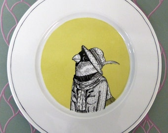 Hand painted porcelain collection plate  - big beak