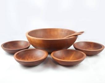 Vintage Baribocraft Salad Bowl Set with utensil color dark mahogany, Canadian Made, Mid Century Modern Dining
