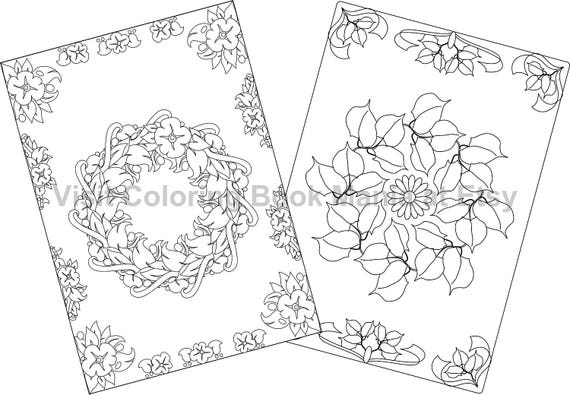 """NOTECARDS to COLOR, 5"""" x 7"""" cards with envelopes - 4 delightful Nature Themed cards - 2 each of 2 Flower Wreath designs!!!"""