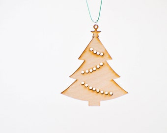 Laser Cut Wood Christmas Tree Ornament - Design #2 - 50% off